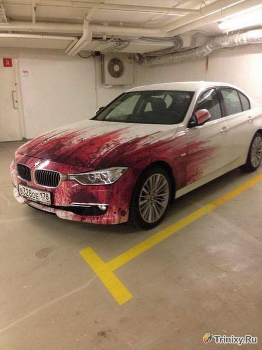 Что случилось с этим белоснежным BMW? (5 фото)