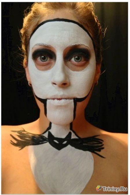 Пугающий макияж на вечеринку хэллоуина (7 фото)