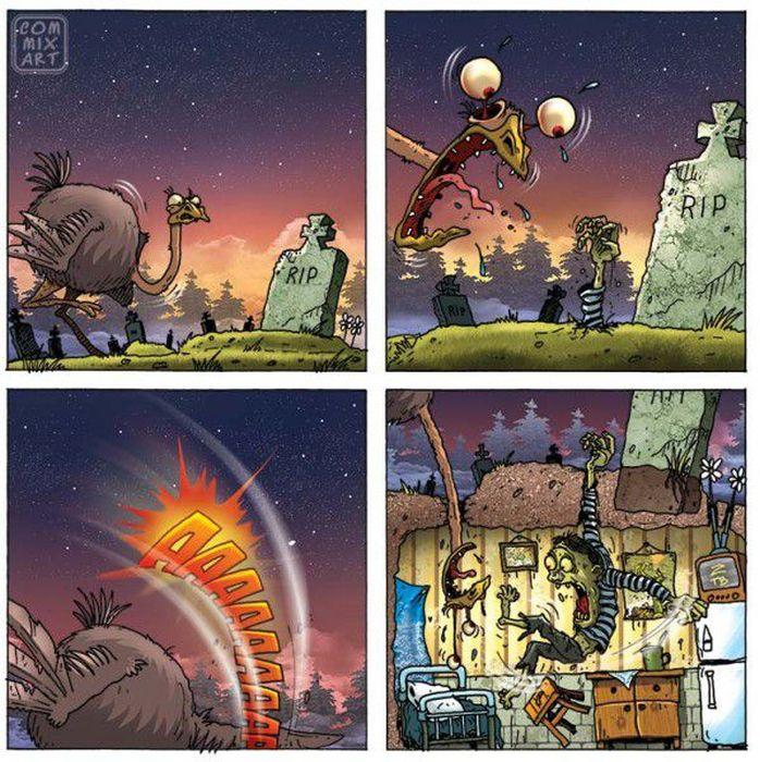 Прикольные комиксы про страуса (20 фото)
