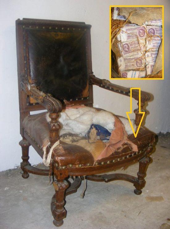 Необычная находка в старом стуле (3 фото)