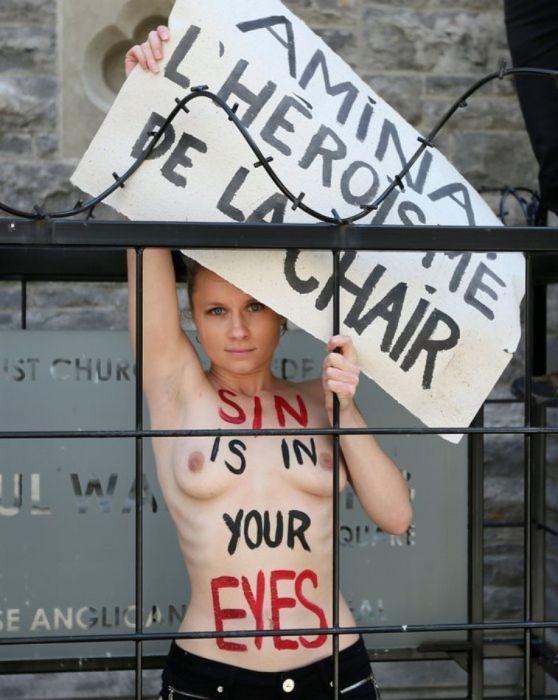 Топ-10 акций гологрудых активисток Femen за последнее время (11 фото)