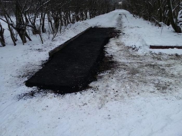 Укладка асфальта поверх снега (27 фото + 2 видео)