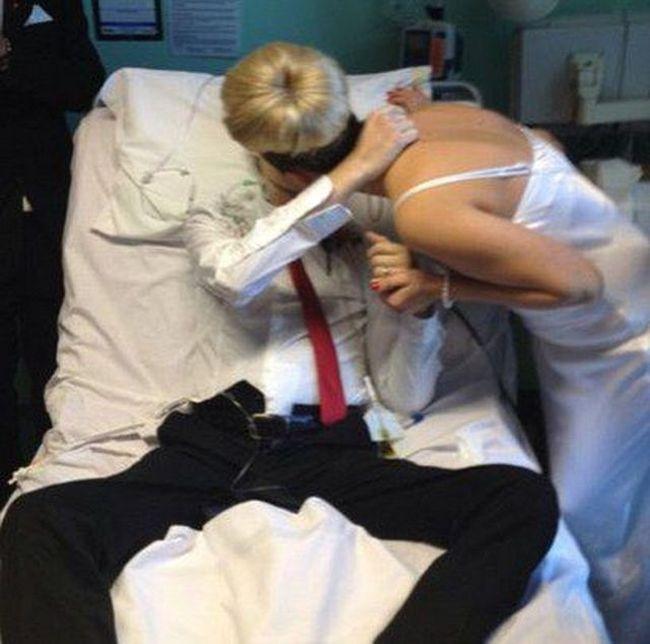 Трогательная свадьба прямо в больничной палате (6 фото)