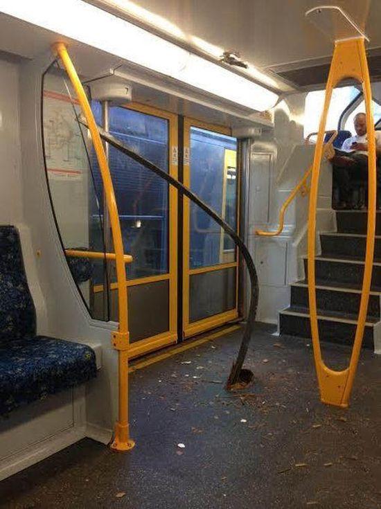 Рельса проткнула пол в метро (3 фото)