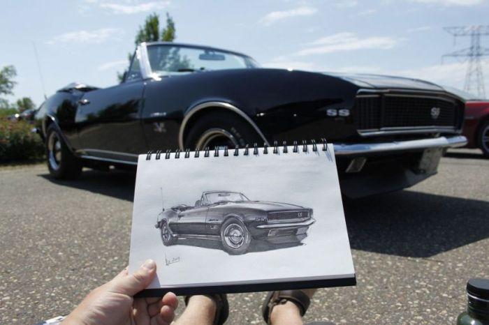 Нарисованные автомобили в фотографиях (31 фото)