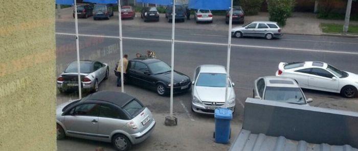 Отомстили водителю, занявшему три парковочных места (4 фото)