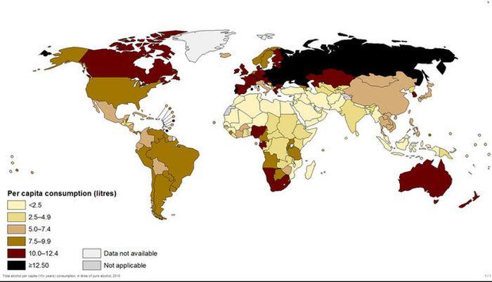 Самые пьющие в мире страны (2 картинки + текст)