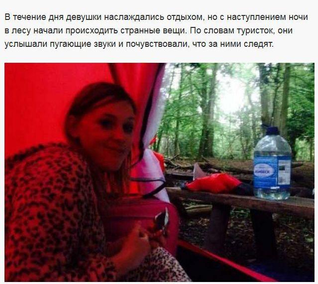 Призрак прогнал туристок из леса (8 фото)