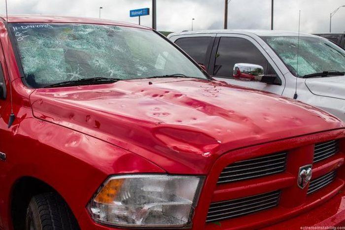 Последствия града в американском штате Небраска (23 фото)