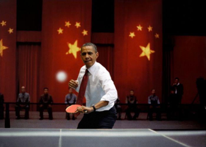 Фотожабы Барака Обамы, играющего в настольный теннис (31 фото)
