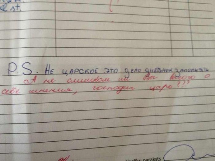 Странные замечания на страницах школьных дневников (21 фото)