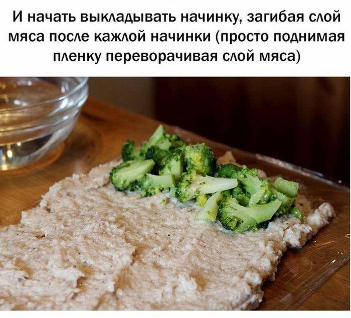 Готовим куриный рулет с курицей, брокколи и кукурузой (23 фото)