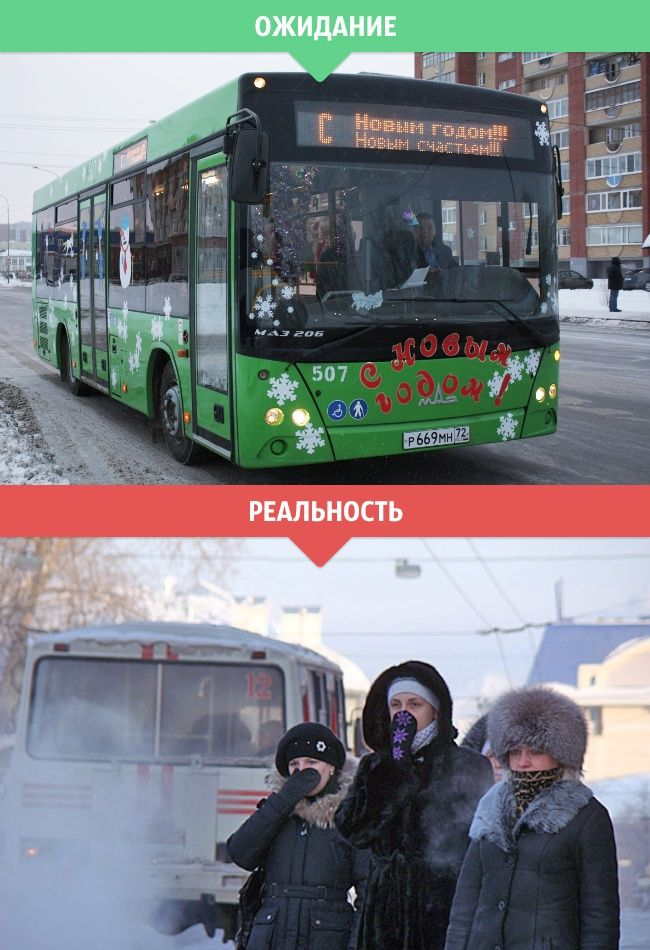Зимняя пора в ожиданиях и в реальности (14 фото)