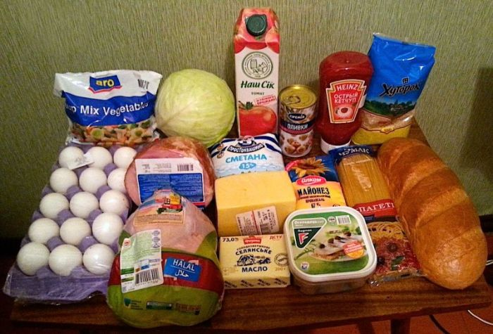 Продуктовая корзина на 1000 рублей в разных странах (28 фото)