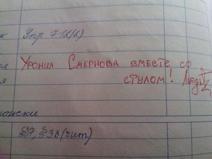 Юмор в дневниках и тетрадях школьников (37 фото)