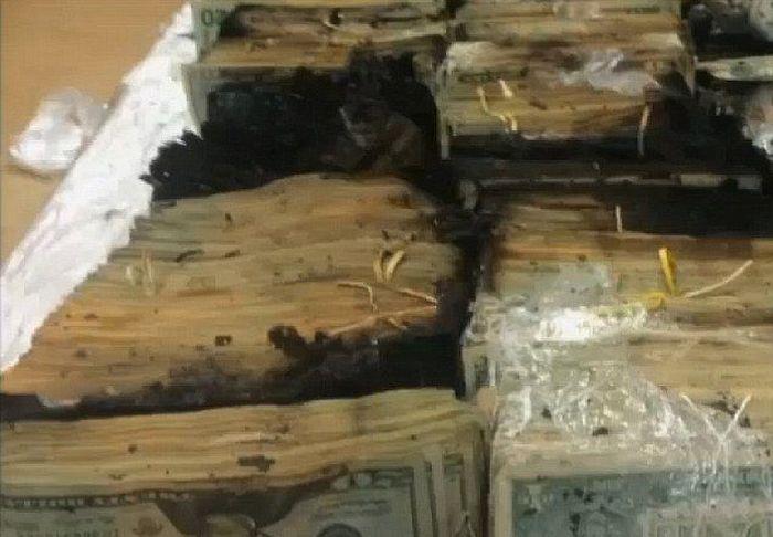 Наличные на сумму 700 000 долларов сгорели в грузовике (6 фото)