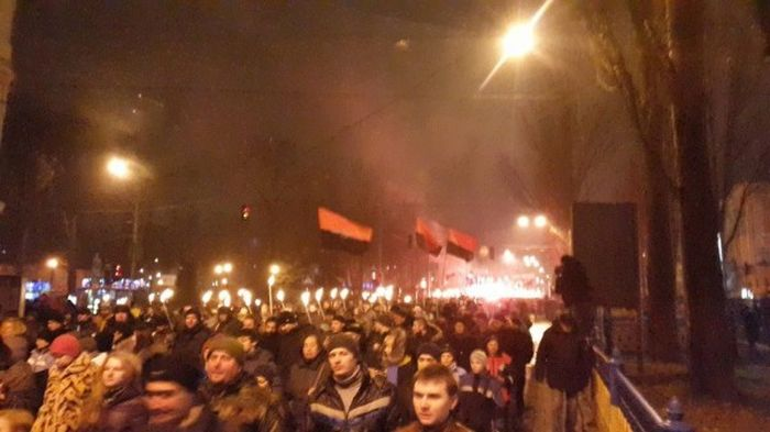 В Киеве отметили 106-летие Бандеры факельным шествием (29 фото)