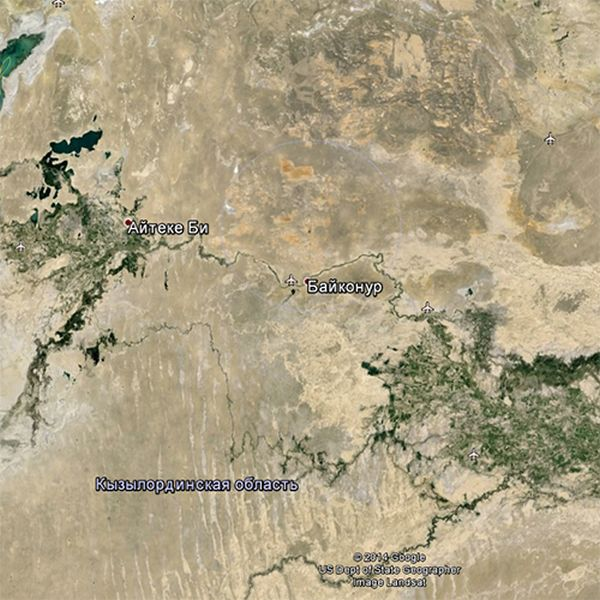 Сервис Google Earth и необычная координата на Байконуре (8 фото)