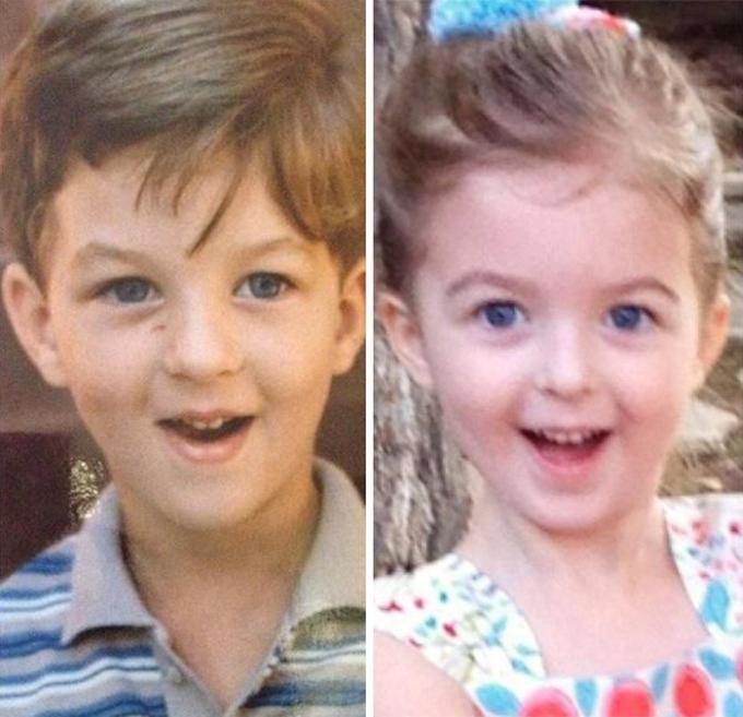 Фотоснимки родителей и их детей в одном и том же возрасте