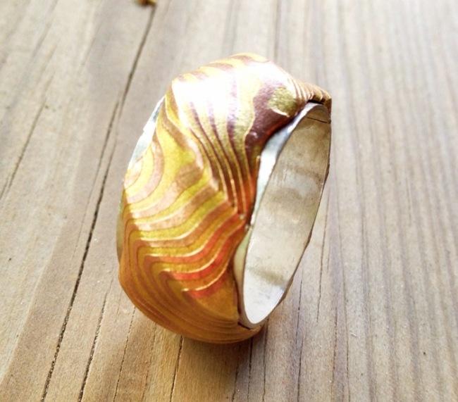 Экзотическое кольцо по технологии Мокумэ Ганэ (14 фото)
