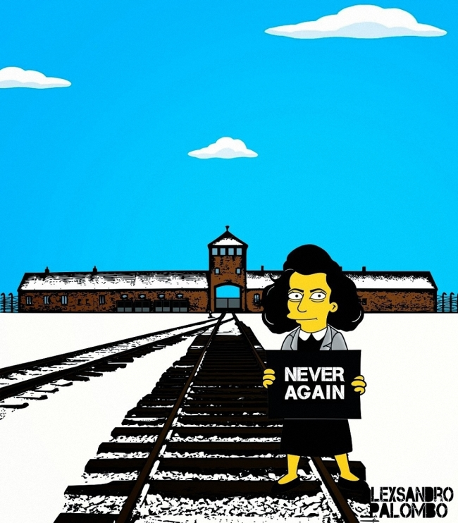 Художник Александро Паломбо представил Симпсонов в виде узников концлагеря (13 фото)