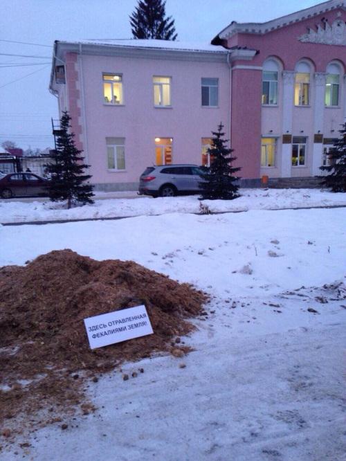 Жители Арамили выразили протест кучей навоза перед зданием мэрии (6 фото)