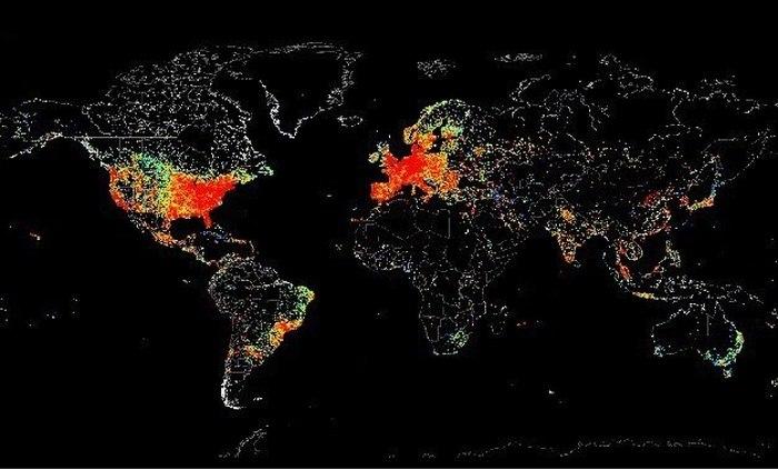 Глобальное использование интернета на карте (5 фото)