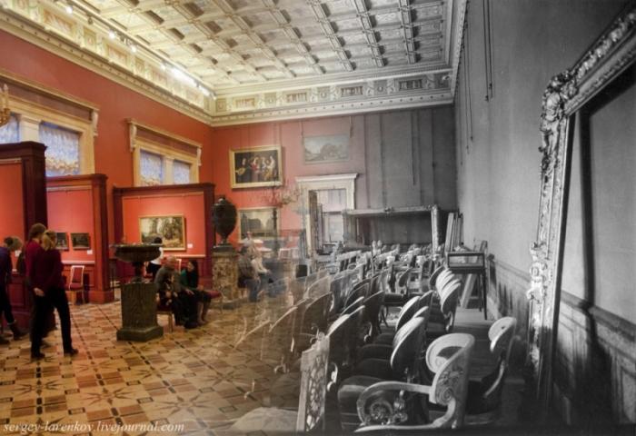 Сравнительная фотоподборка: Эрмитаж в блокаду и в наши дни (20 фото)