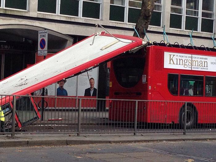 По вине водителя дерево снесло крышу автобусу (14 фото)