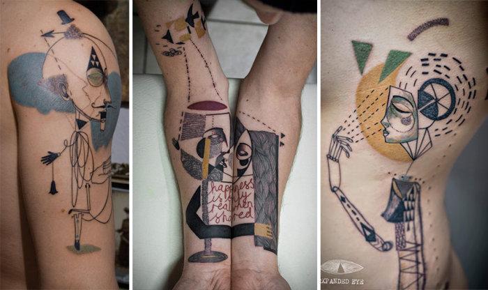 Необычные татуировки в кубическом стиле (20 фото)