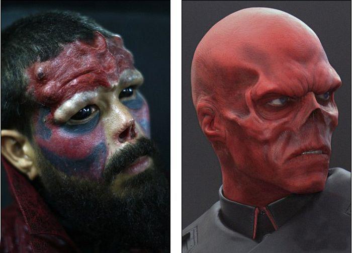 Мужчина превратил себя в Красного Черепа из «Капитана Америки» (11 фото)
