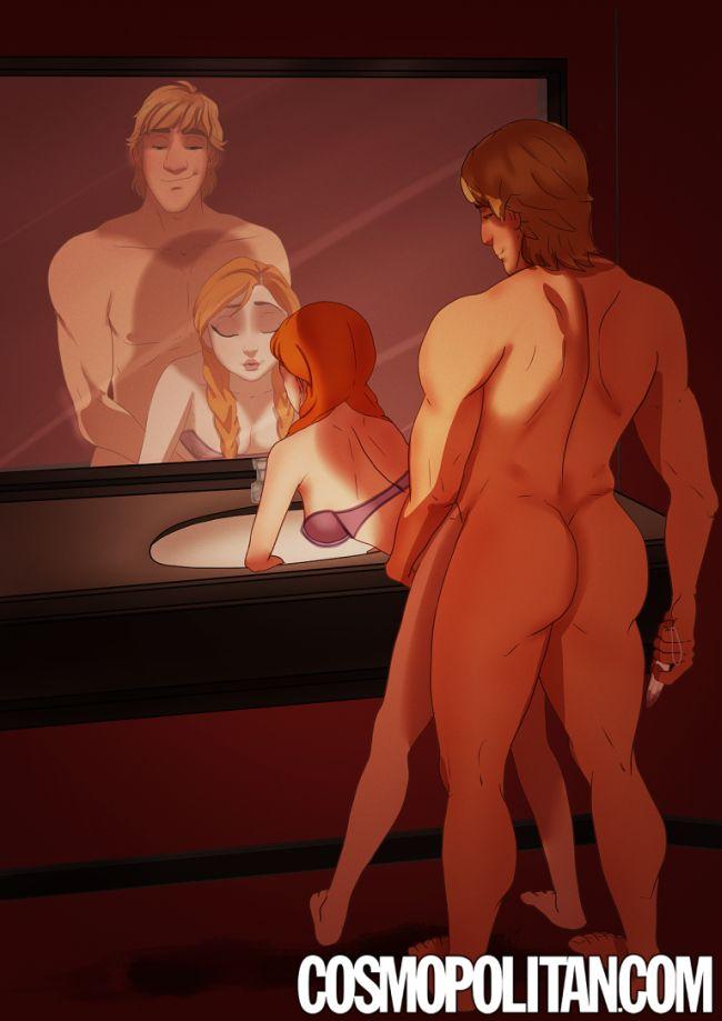 Персонажи мультфильмов в образе героев романа «50 оттенков серого» (9 рисунков)