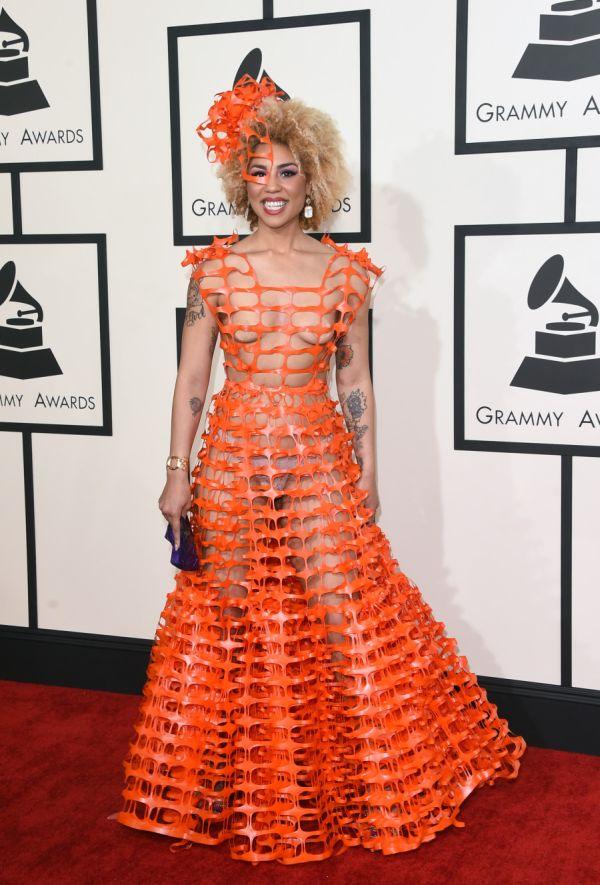Певица Джой Вилла посетила Грэмми 2015 в невероятно откровенном платье (6 фото)