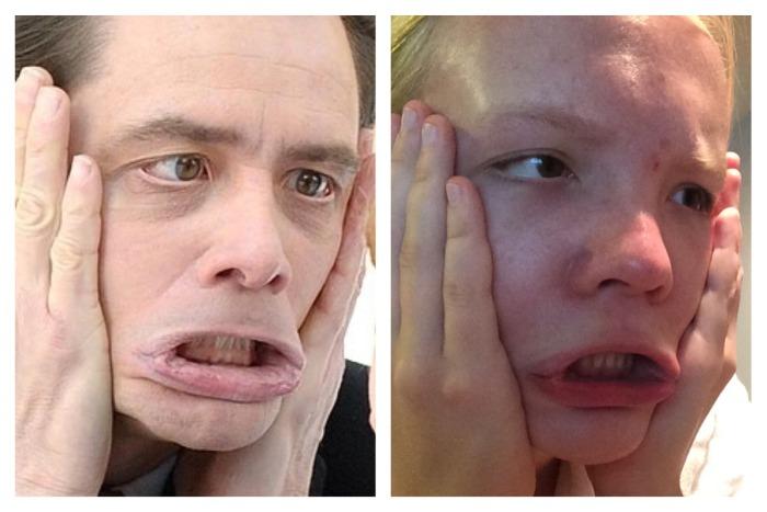 Девушка пытается пародировать лица знаменитостей (45 фото)