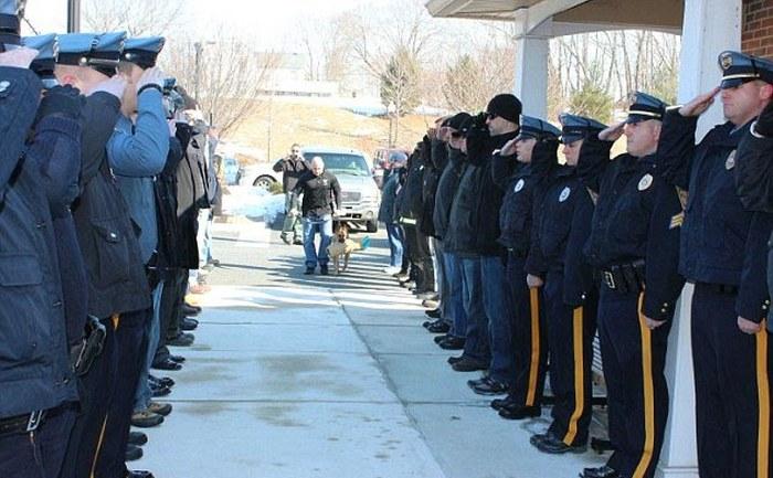 Американские полицейские провели в последний путь своего четвероногого коллегу (5 фото)