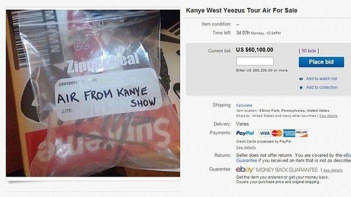 На eBay стоимость воздуха с концерта Канье Уэста превысила 60 000 долларов (5 фото)