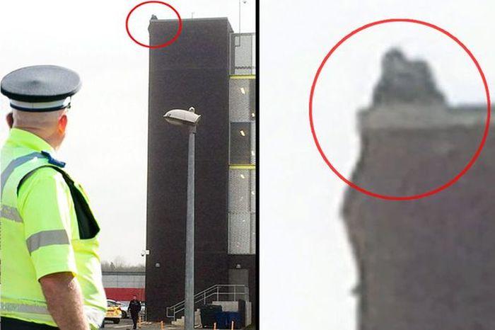 В Великобритании толпа помогла мужчине спрыгнуть с крыши (2 фото)