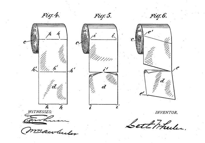 Оригинальный патент изобретателя отрывного рулона туалетной бумаги положил конец долгим спорам (3 фото)