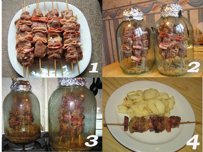 Как приготовить шашлык в трехлитровой банке и духовке (4 фото)