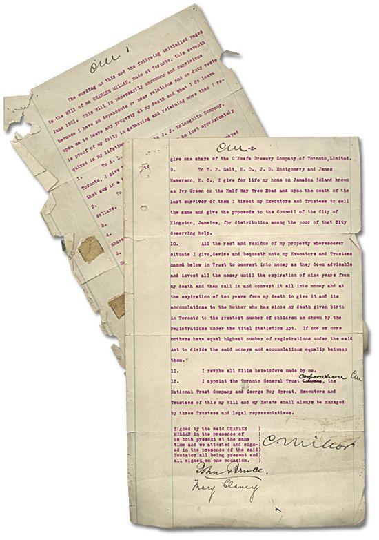 Чарльз Вэнс Миллар и его оригинальное завещание (2 фото)