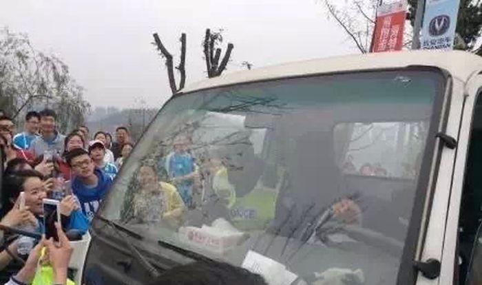 В Китае симпатичный полицейский сорвал марафон (9 фото)