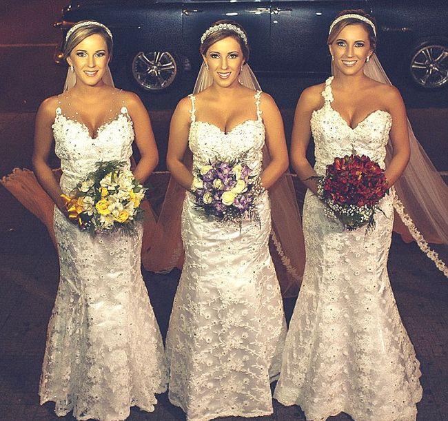 Свадьба бразильских сестер-тройняшек (6 фото)