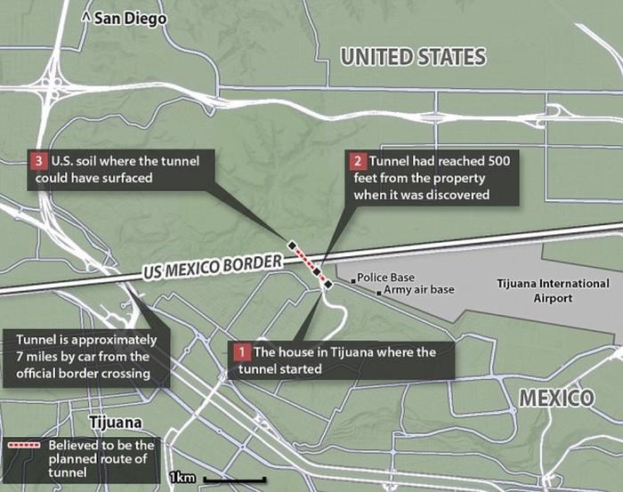 Мексиканские контрабандисты сделали в шкафу вход в подземный тоннель, ведущий в США (9 фото)