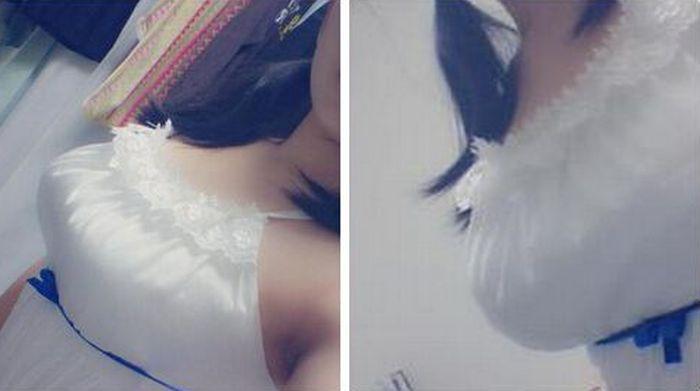 Синяя ленточка под грудью – новый модный тренд среди японок (16 фото)