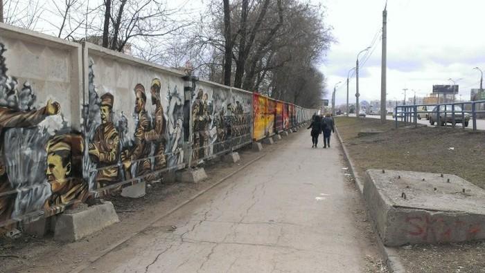 Военное граффити ко Дню Победы в Самаре (11 фото)