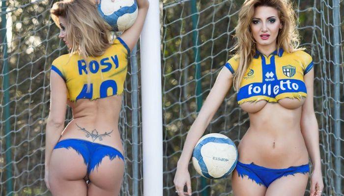 Стриптиз от фотомодели Рози Маджиулли в обмен на спасение ФК «Парма» (21 фото)