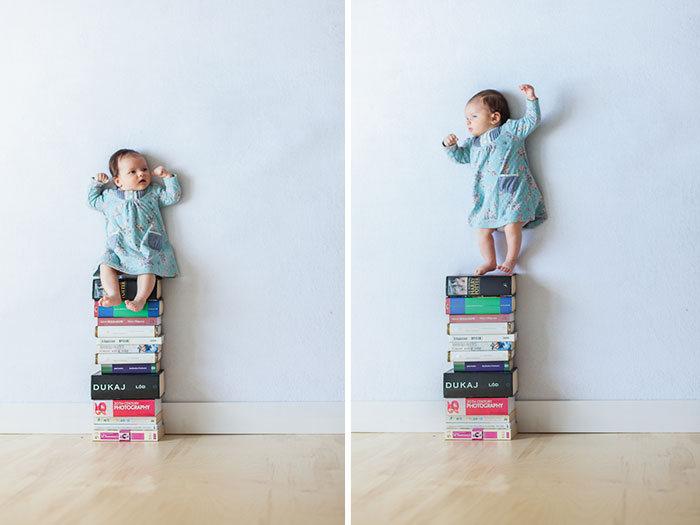 Первая фотосессия 1-месячной девочки (9 фото)