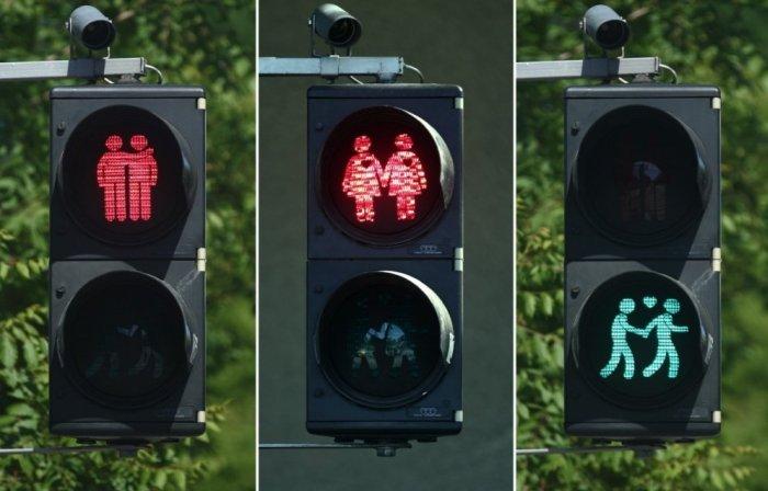«Нетрадиционные» светофоры в Вене (4 фото)