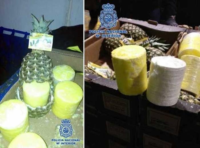 Контрабандисты пытались перевезти 200 кг кокаина внутри пустых ананасах (3 фото + видео)
