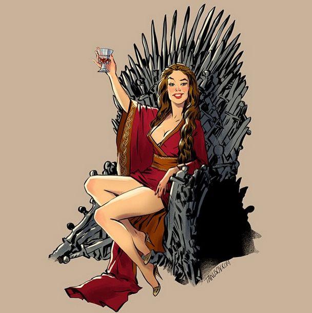 Героини сериала «Игра престолов» на картинках в стиле пин-ап (15 картинок)